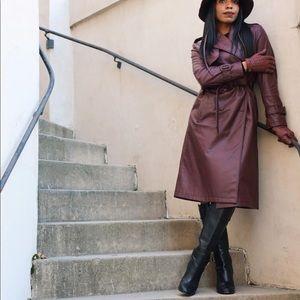 Zara Faux Leather Trench Coat Burgundy
